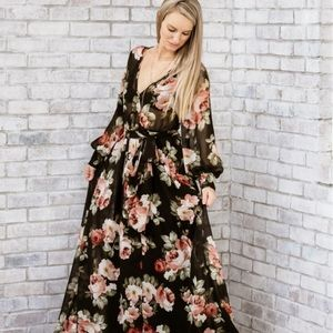 Black with dusty rose floral print maxi dress